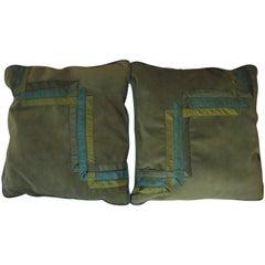 Art Deco Throw Pillows, Original Design in Light Green Velvet with Silk Decorate