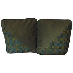 Art Deco Pillows, Original Geometric Silk Design on Velvet Comfort Throw Pillows