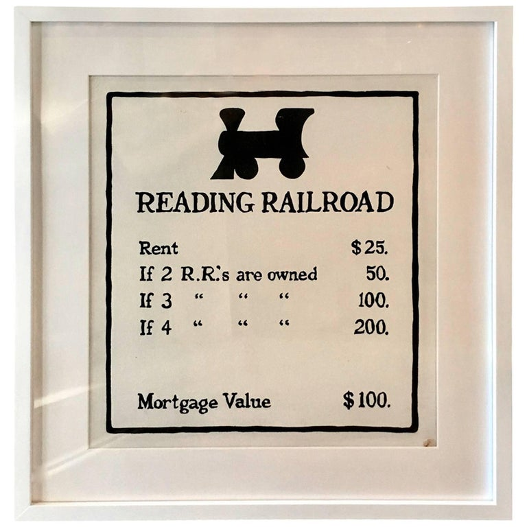 """Oversized Hand-Painted Monopoly Sign """"Reading Railroad"""" For Sale"""