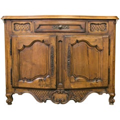 Antique French 19th Century Louis XV Provencal Hand-Carved Solid Walnut Buffet