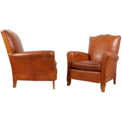 Pair of Moustache Back French Leather Club Chairs