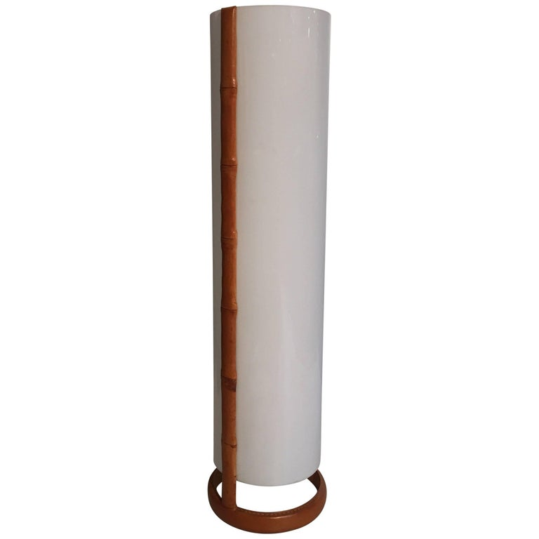 Jacques Adnet Stitched Leather and Perpex Floor Lamp