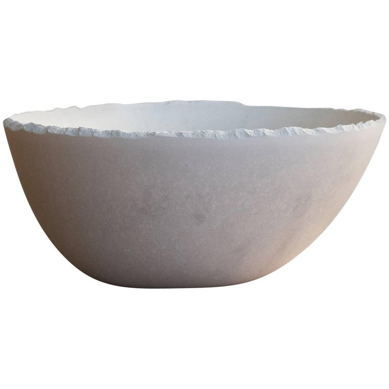Handmade Cast Concrete Bowl in White by UMÉ Studio For Sale