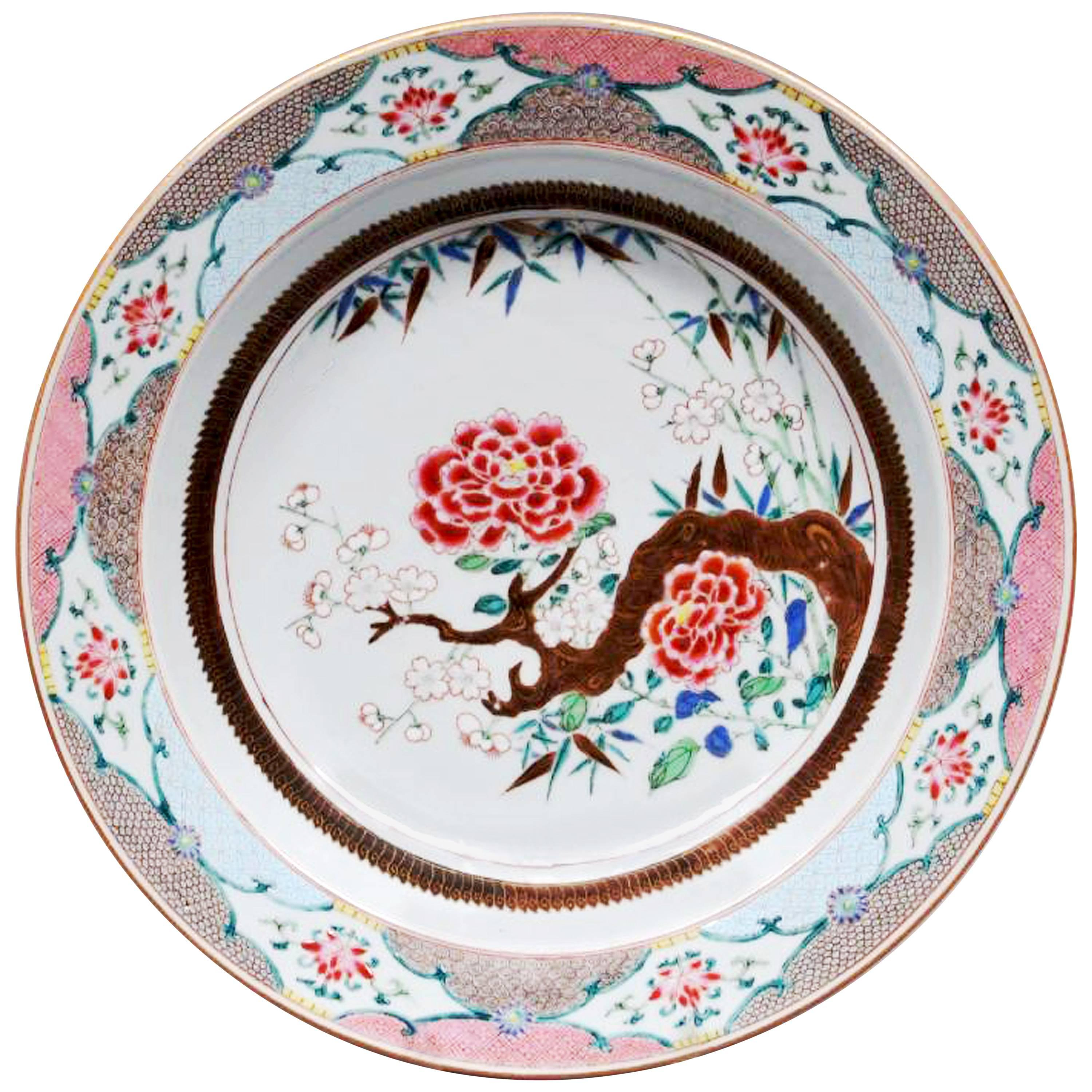 Chinese Export Famille Rose Porcelain Basin, Mid-18th Century