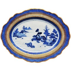 Chinese Export Porcelain Large Blue and White Dish with London Gold, circa 1780