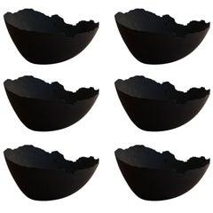 Handmade Cast Concrete Bowl in Black by UMÉ Studio, Set of Six