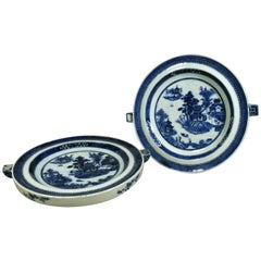 Chinese Export Blue and White Porcelain Hot Water Plates, circa 1780-1800