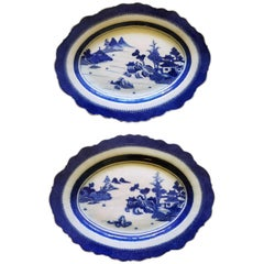 Chinese Export Blue and White Porcelain Large Silver-Form Shaped Dishes