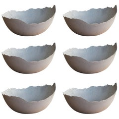 Handmade Cast Concrete Bowl in White and Grey by UMÉ Studio, Set of Six