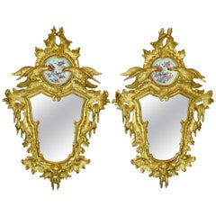 Pair of Giltwood Mirrors with Porcelain, Rococo, 18th Century