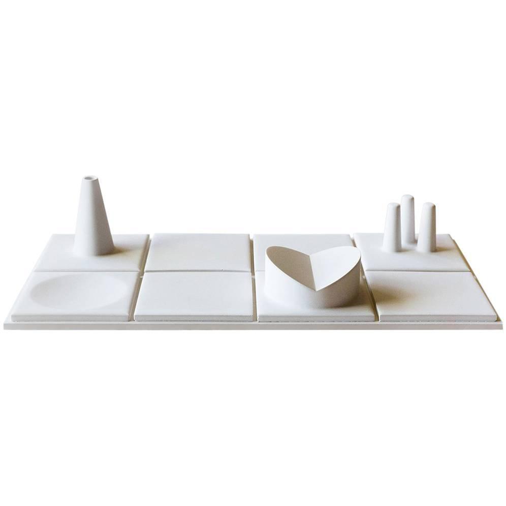 Salle de Bain 'M' Handmade Cast Concrete Tray in White by UMÉ Studio