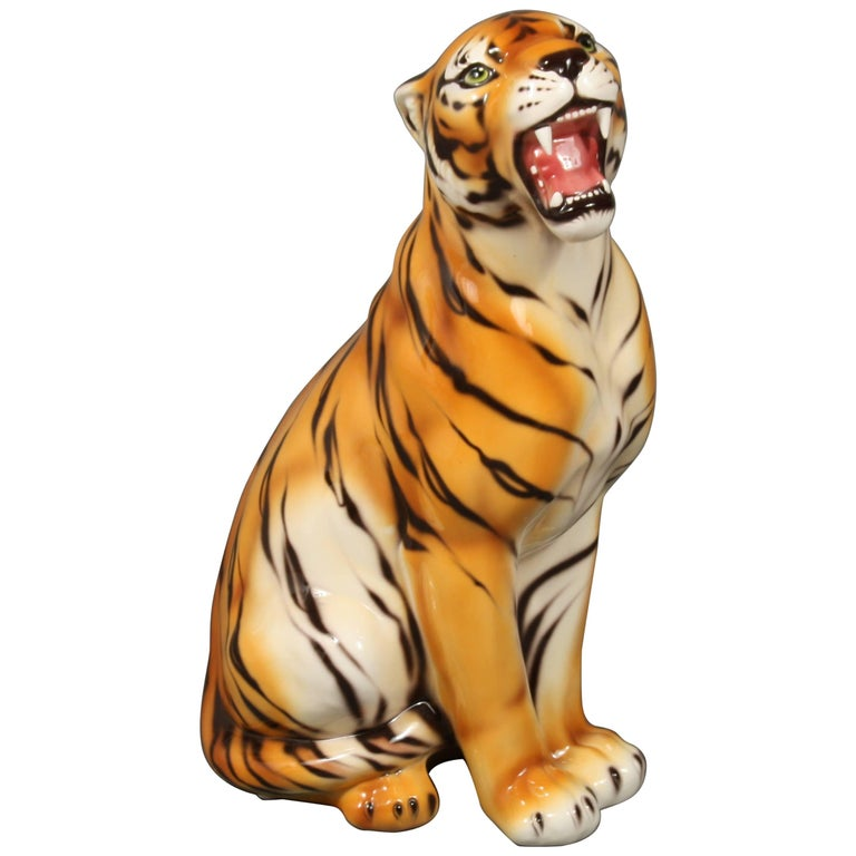Porcelain Sculpture of a Tiger, Italy