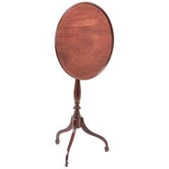 Fine George III Mahogany Circular Dish Top Tripod Wine/Lamp Table
