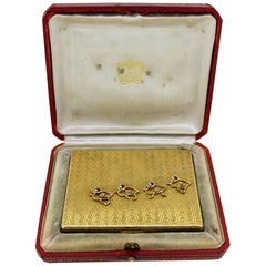 Cartier 18-Karat Yellow Gold Compact Box with Diamonds 0.20 Carat, Paris, 1930s