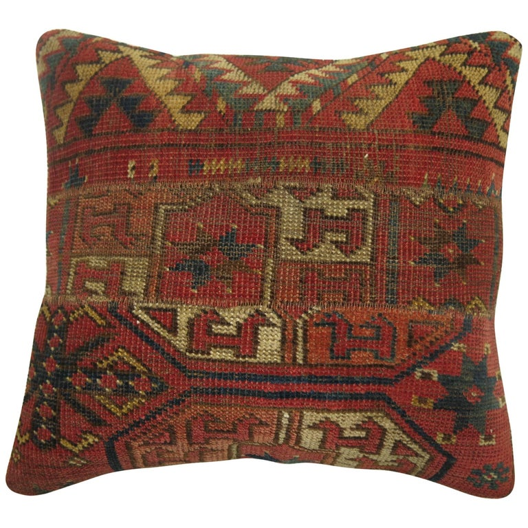 Antique Rug Pillow from 19th Century Turkeman Rug For Sale