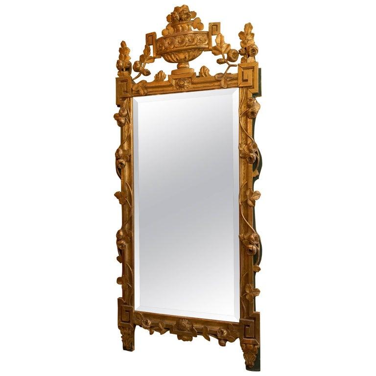 French Louis XVI Period Giltwood Front Top Mirror, circa 1780