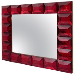 Modern Murano Red Art Glass Italian Mirror