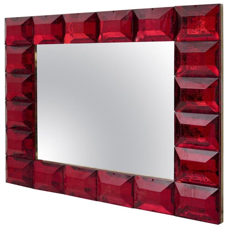 Modern Murano Red Art Glass Italian Mirror