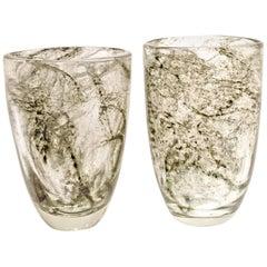 Pair of Vases, Ercole Barovier, Crepuscolo Serie Designed in 1935, Murano