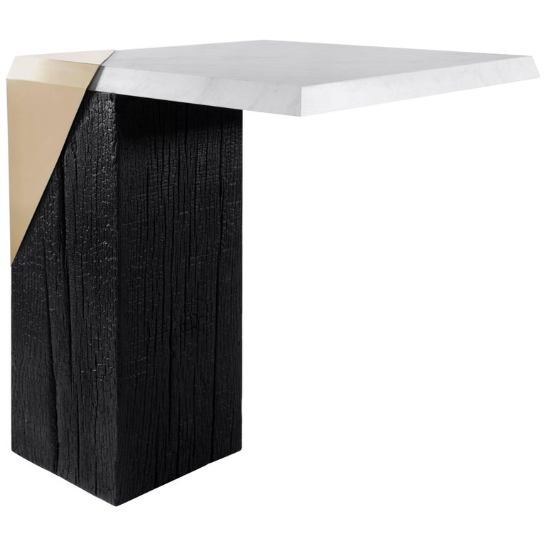 Contemporary  Side Table / End Table 'Vathro' in Burnt Wood, Marble and Brass