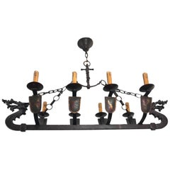 Wrought Iron Medieval St. Viking Longboat Chandelier, Pendant Light with Dragons