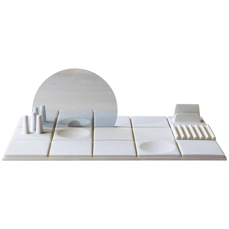 Salle de Bain 'L' Handmade Cast Concrete Tray in White by UMÉ Studio For Sale
