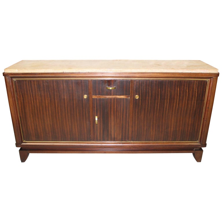 French Art Deco Macassar Ebony Sideboard or Buffet by Maurice Rinck, circa 1940s For Sale