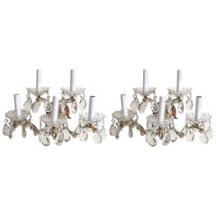 1940s Italian Crystal and Brass Five-Arm Sconces, Pair