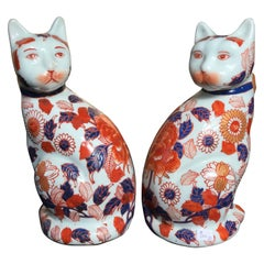 Japanese Pair of Imari Porcelain Lovable Cats Sculpture, Signed Base