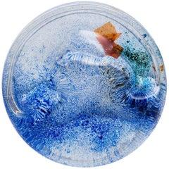 Alfredo Barbini Clear Glass Vide-Poche with Polychrome Oxide, 1970s