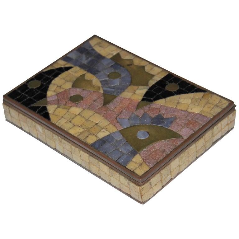 Salvador Teran Glass Mosaic and Brass Box