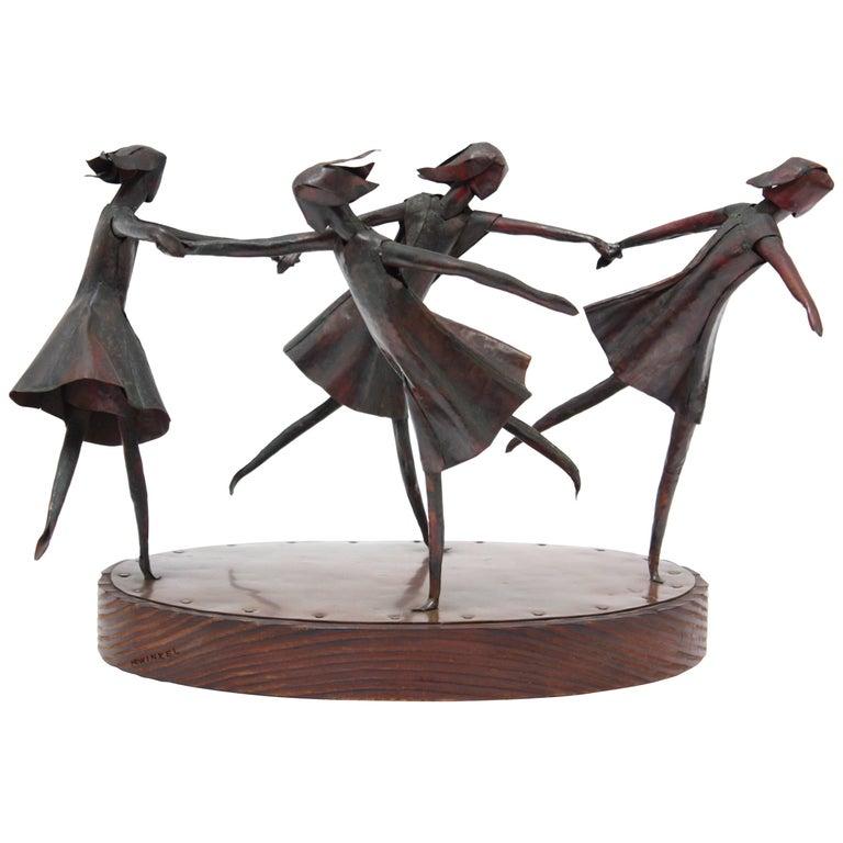 Nina Winkel Mixed Metal 'Dancing Girls' Sculpture