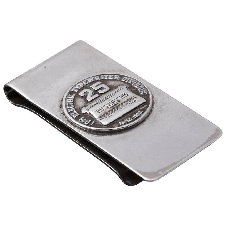 Sterling Money Clip, 25 Years IBM Electric Typewriter Division, 1933-1958 1