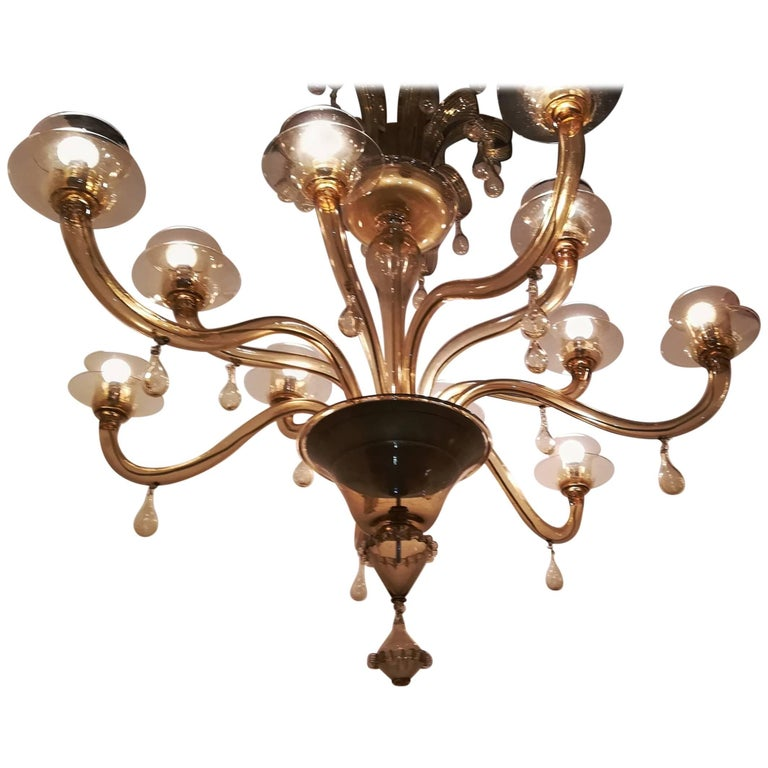 Venini Chandelier 1940 Murano Glass 12 Lights