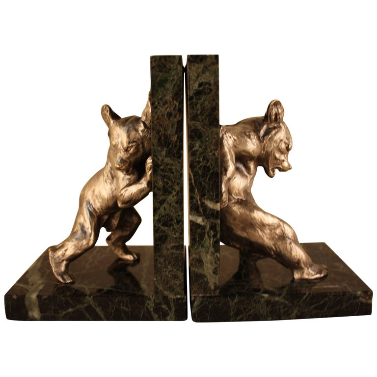 Charles Paillet, 1871-1937, French Bronze Sculpture, Bear Bookends For Sale
