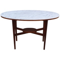 1960s Walnut and Carrara Marble Console