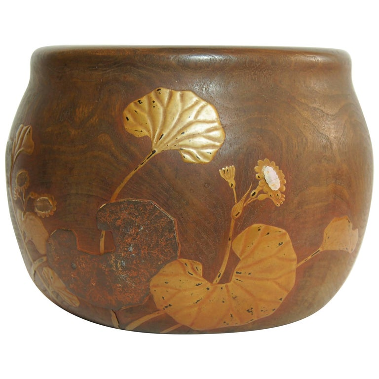 Japanese Lotus Leaf Motif Wooden and Copper Interior Hibachi, 1920s