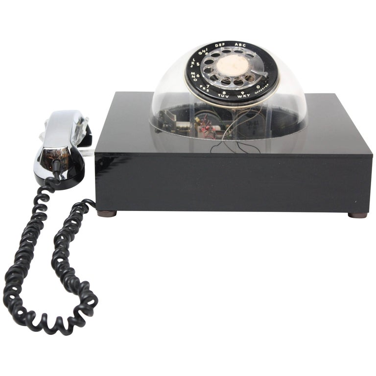 Space Age Acrylic and Chrome 'Teledome' Rotary Telephone For Sale