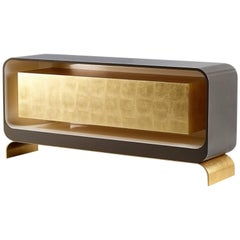 Lingot Smoke Sideboard, Contemporary Gold Leaf and Lacquer Sideboard