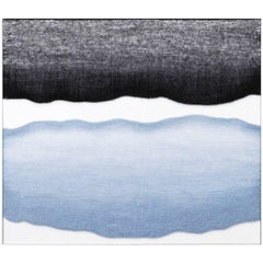 Contemporary Handwoven Wall Fiber Art, Pale Blue and Black by Mimi Jung
