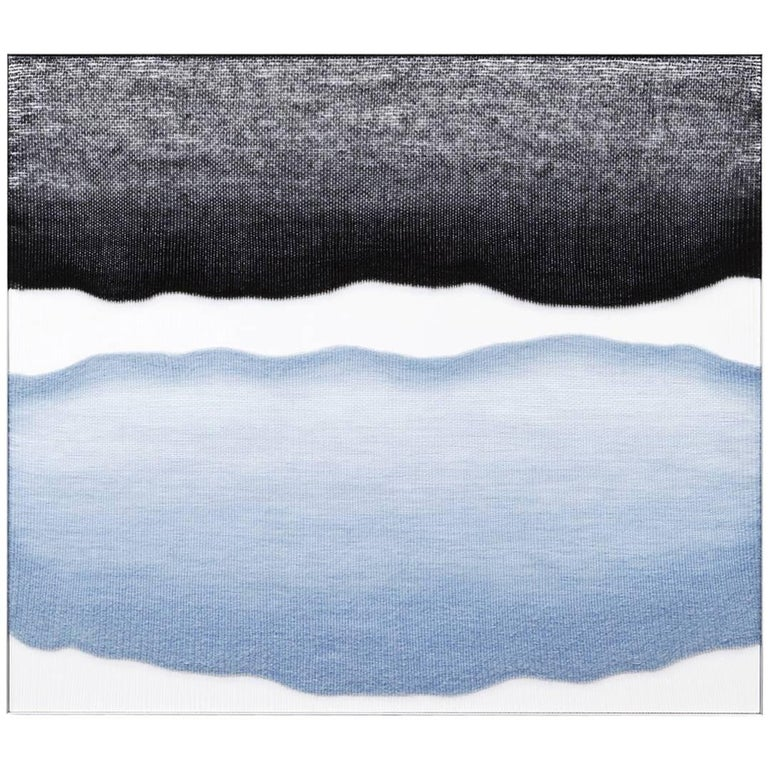 Contemporary Handwoven Wall Fiber Art, Pale Blue and Black by Mimi Jung For Sale