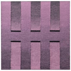 Contemporary Hand-Woven Wall Fibre Art, Pink to Black Rectangles by Mimi Jung