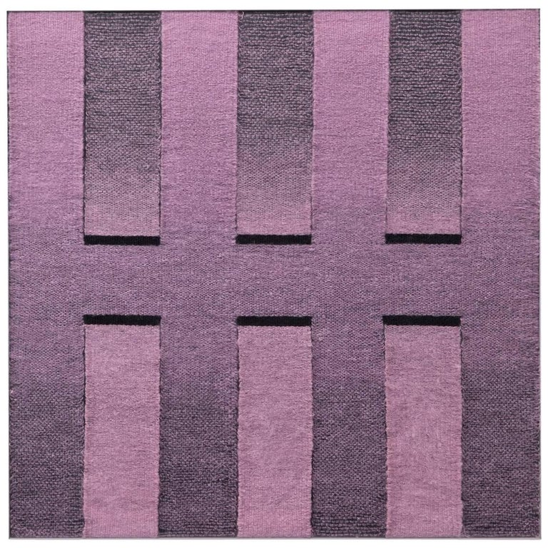 Contemporary Weaving Textile Fiber Art, Pink to Black Rectangles by Mimi Jung
