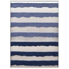 Contemporary Handwoven Wall Fiber Art, Periwinkle & Dark Blue by Mimi Jung