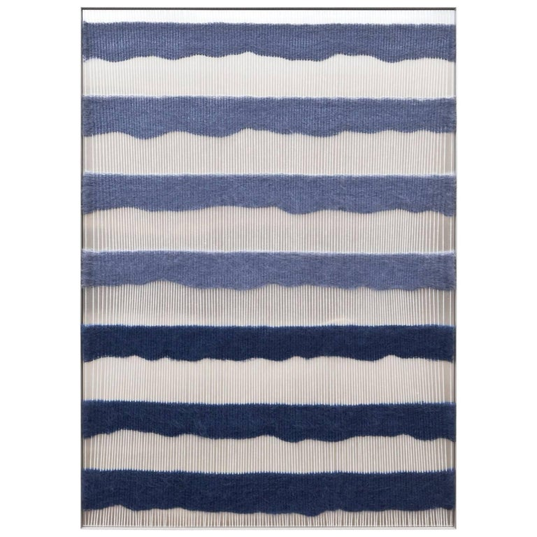 Contemporary Handwoven Wall Fiber Art, Periwinkle & Dark Blue by Mimi Jung For Sale