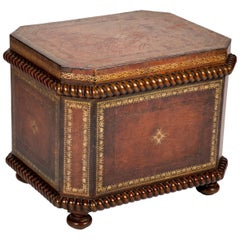 Tooled and Gilt Leather Chest with Faux Marble Interior