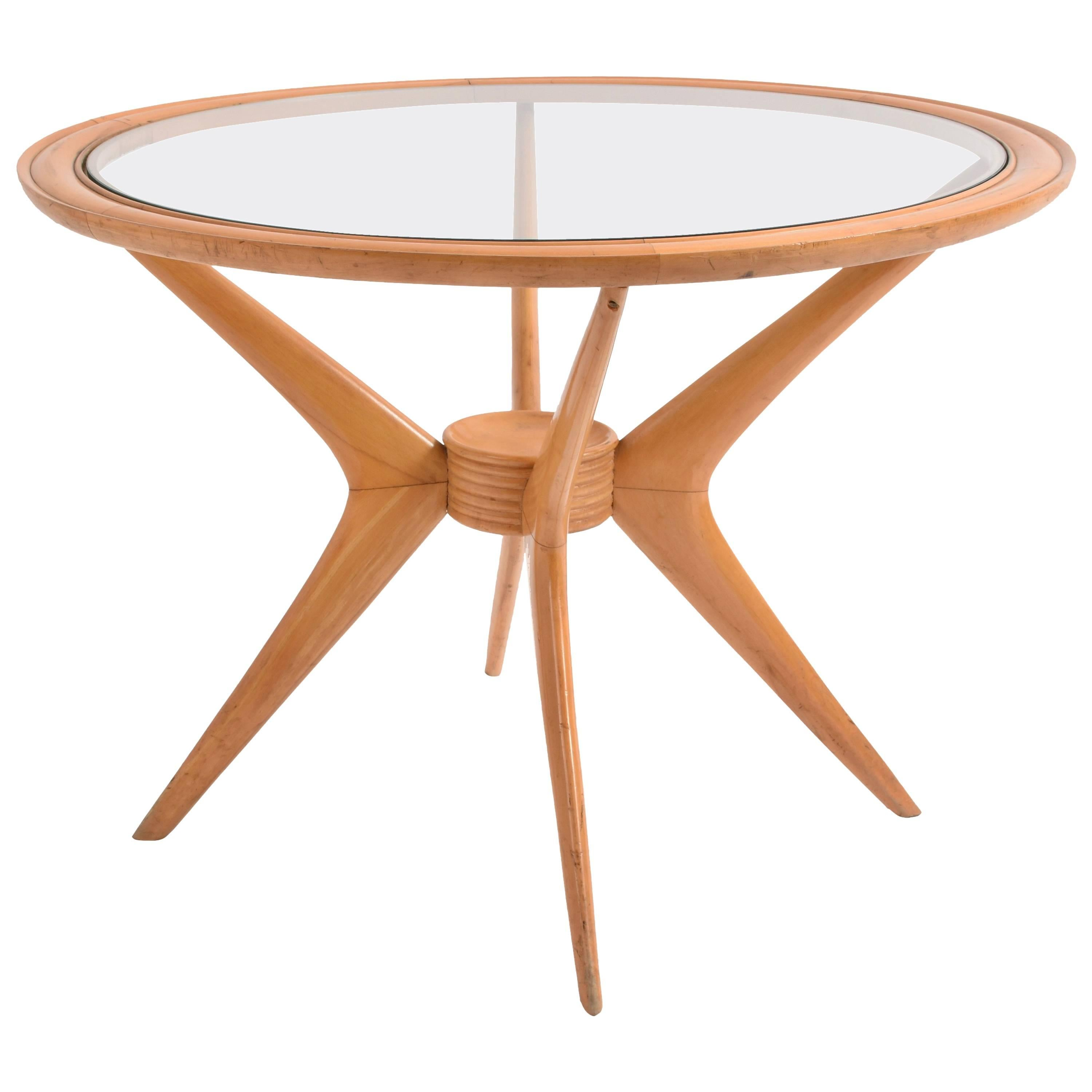 Midcentury Coffee Table In Birchwood By Cesare Lacca For Cassina, Italian,  1950s For Sale