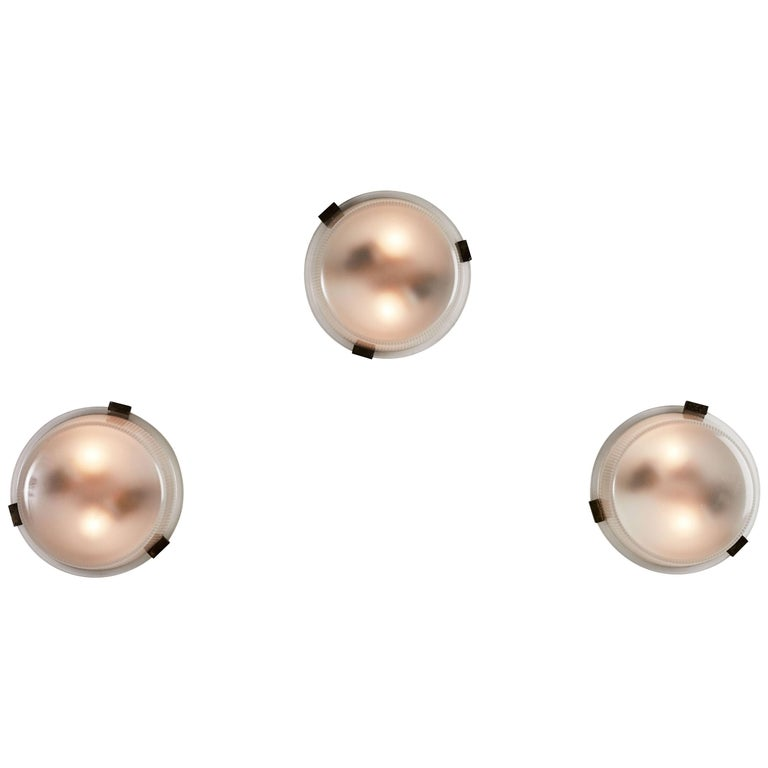 Three Rare Flush Mount Wall/Ceiling Lights by Ignazio Gardella for Azucena For Sale