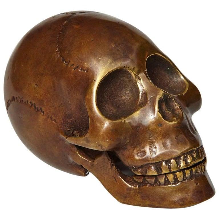 Memento Mori Bronze Statue of a Human Skull For Sale