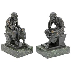 """Sculpture """"Socrates"""" Bronze and Marble Bookends"""